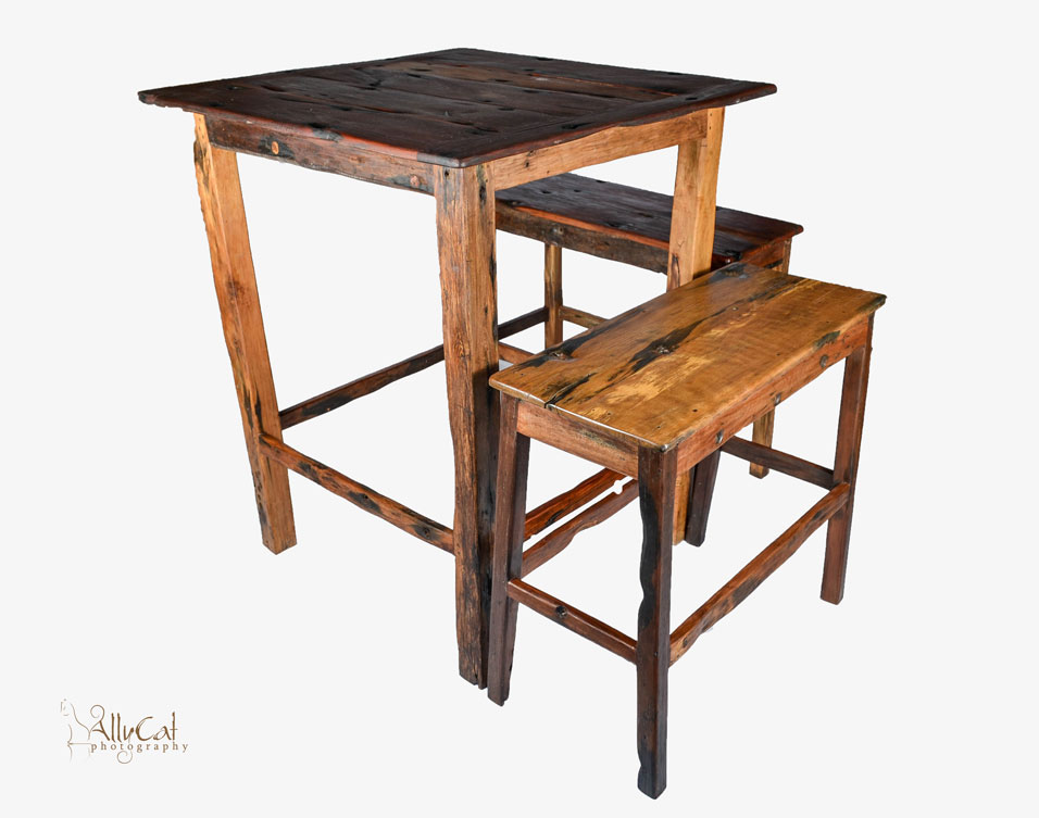 Dhow Wood High Bar Set (4x Double Stools)